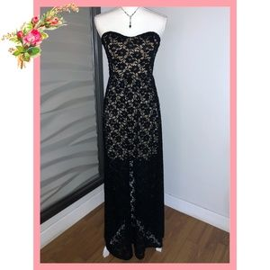 🌸KAITLYN Strapless Black and Nude Lace Maxi Dress